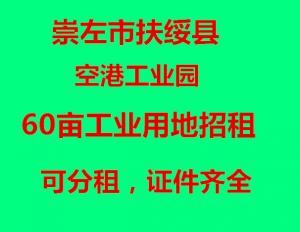 崇左市扶绥县空港工业园60亩工业用地招租,可分租,证件齐全